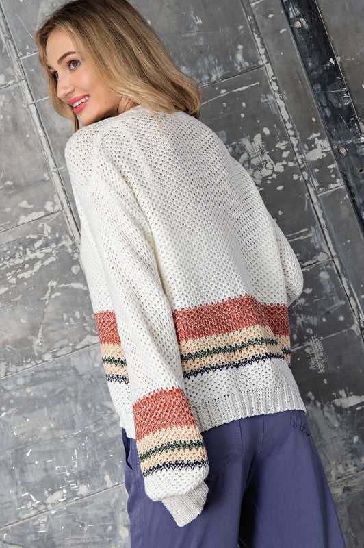 STRIPED OPEN KNIT CARDIGAN