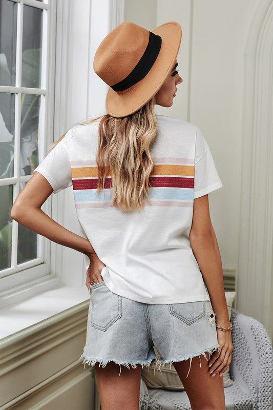 White Striped Print T-shirt
