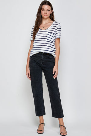 SCOOP NECK STRIPE TEE
