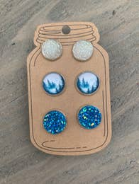 Blue Forrest Mix Triple Faux Druzy 3 Earring Se