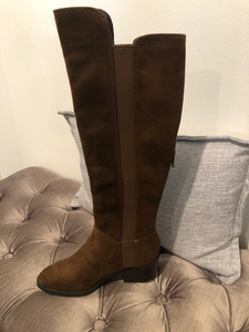 Tall Faux  Suede Brown Boot