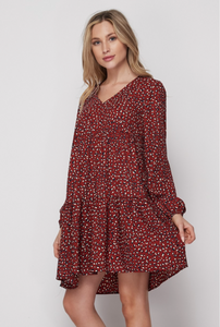 LONG SLEEVE ANIMAL PRINT DRESS (S-3X)