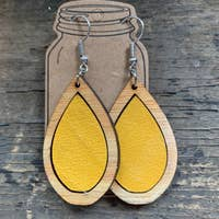 Wood Teardrop Earrings with Mustard Yellow Leather