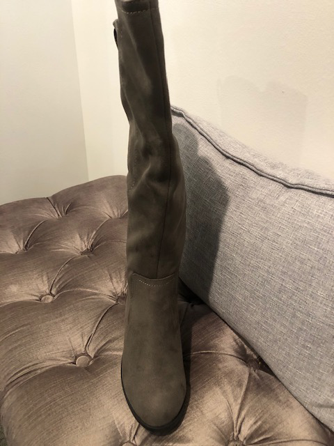 TALL FAUX SUEDE GREY BOOTS