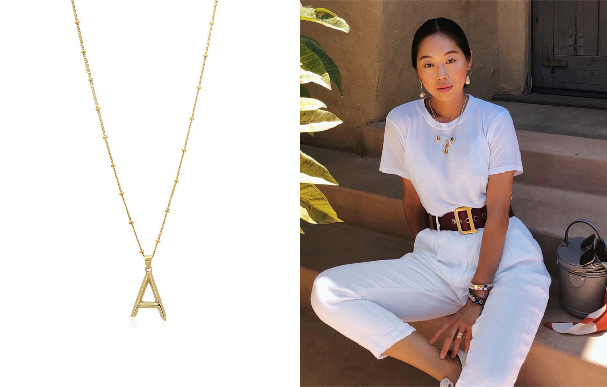 Aimee Song Edge of Ember Initial Necklace