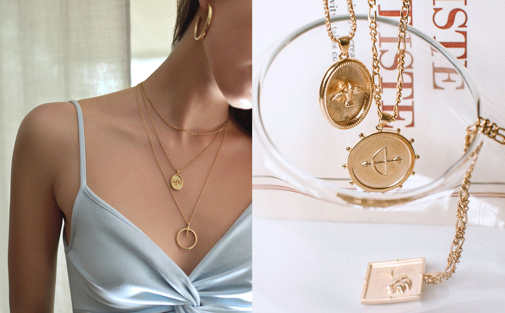 layering charm gold necklaces