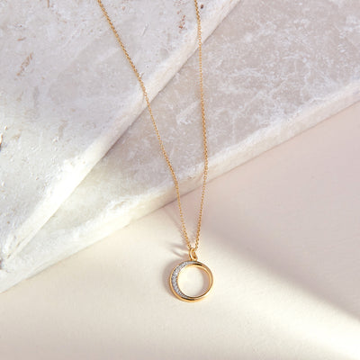 Crescent Diamond Necklace  - Yellow Gold