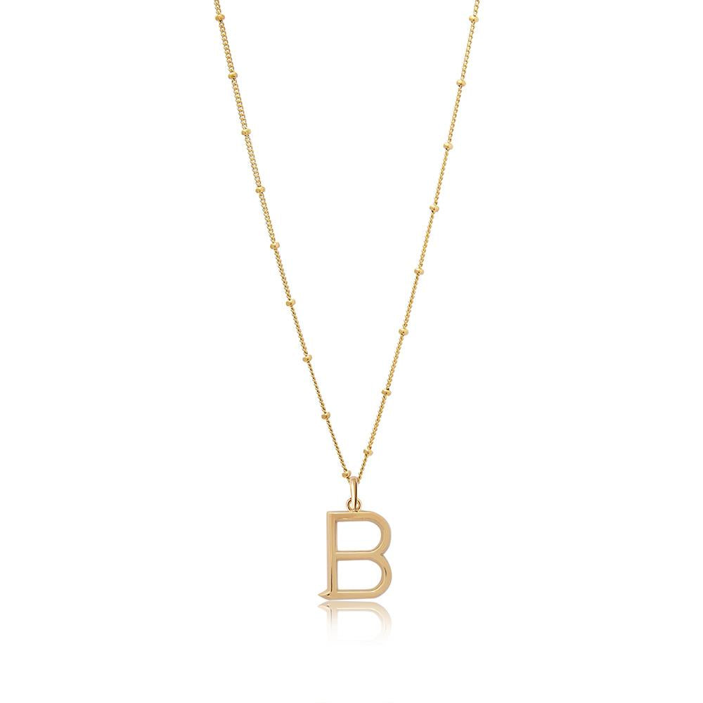 B Initial Necklace - Gold - Edge of Ember Jewellery