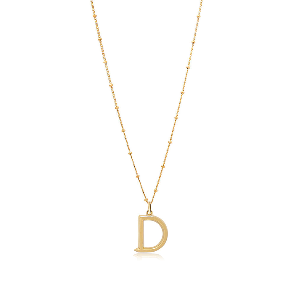 D Initial Necklace - Gold