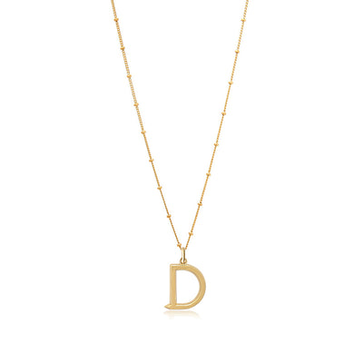 D Initial Necklace - Gold - Edge of Ember Jewellery