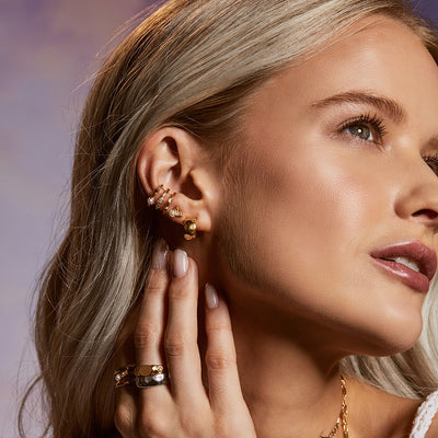 Inthefrow Halo Huggies - Gold - Edge of Ember Jewellery