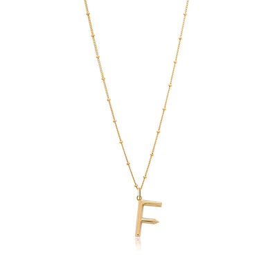 F Initial Necklace - Edge of Ember Jewellery