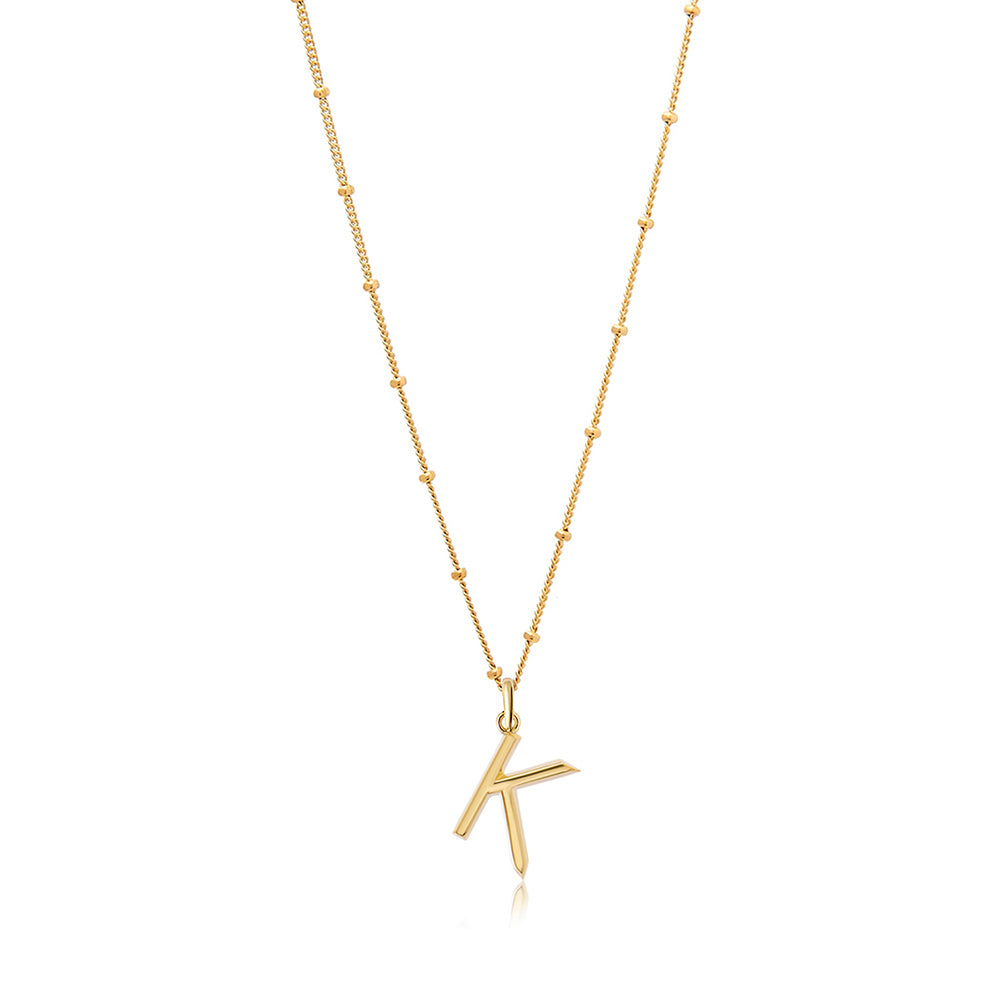 K Initial Necklace - Gold - Edge of Ember Jewellery