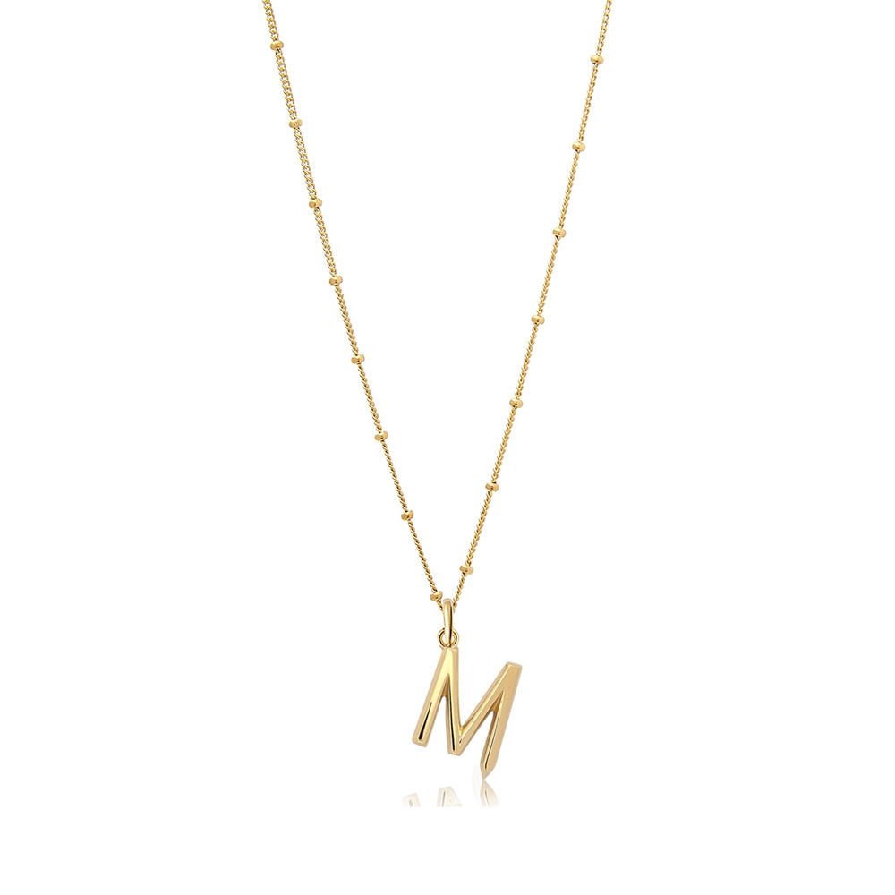 M Initial Necklace - Gold