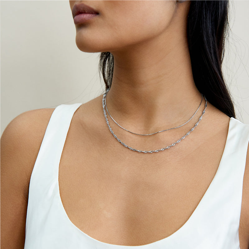Twist Chain Necklace - Silver - Edge of Ember Jewellery
