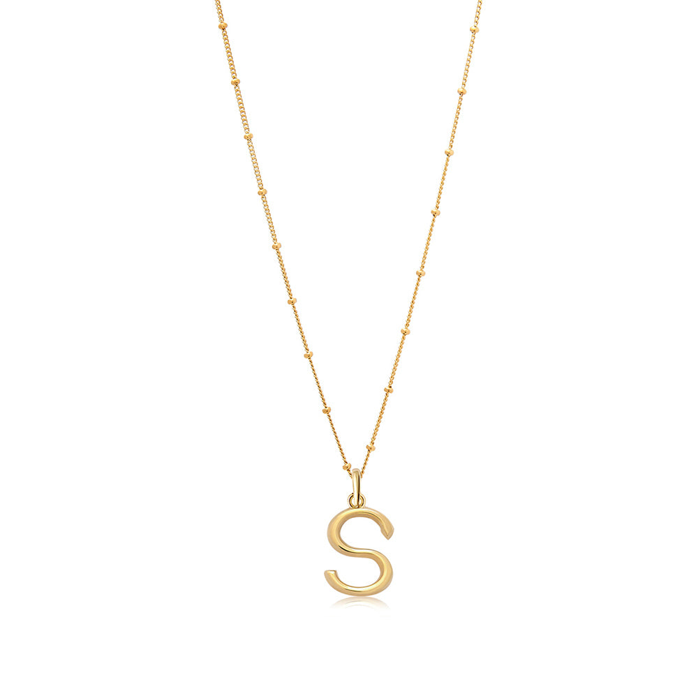 S Initial Necklace - Gold