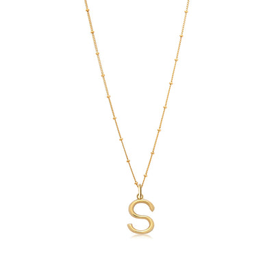 S Initial Necklace - Gold - Edge of Ember Jewellery
