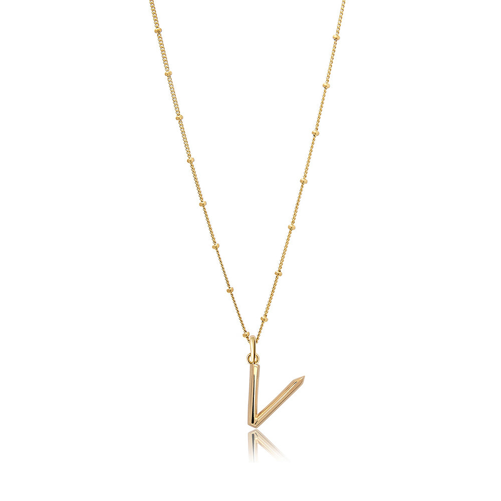 V Initial Necklace - Gold - Edge of Ember Jewellery