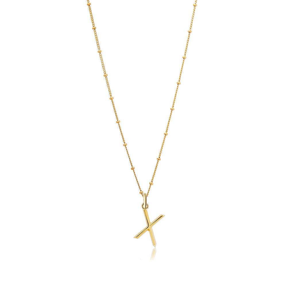 X Initial Necklace - Gold - Edge of Ember Jewellery