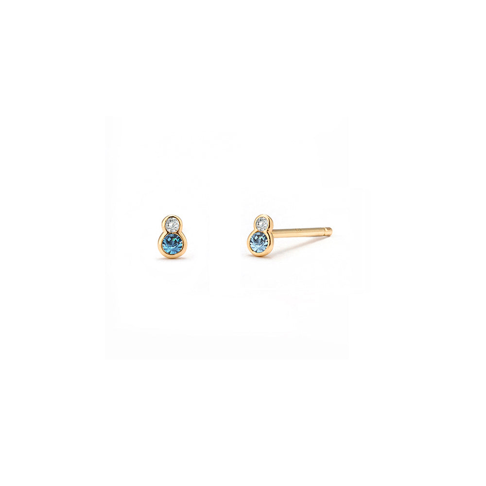 Blue Topaz Sapphire Stud Earrings - Edge of Ember Jewellery