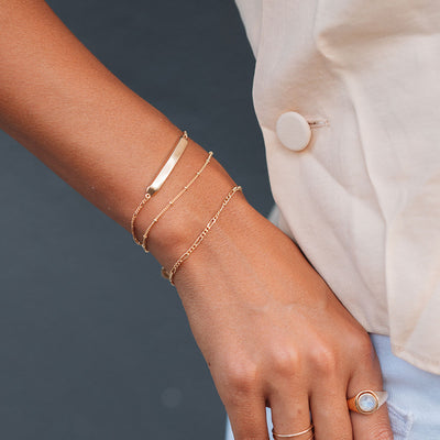 Gold ID Bracelet Stacking Set - Edge of Ember Jewellery