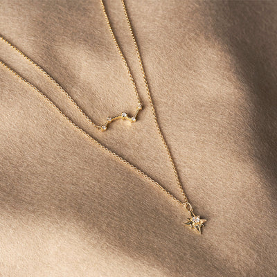 North Star Diamond Necklace - Yellow Gold - Edge of Ember Jewellery