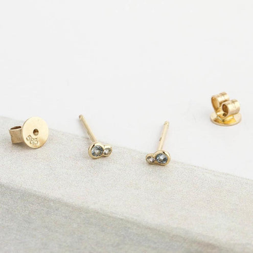 Topaz Sapphire Stud Earrings - Edge of Ember Jewellery