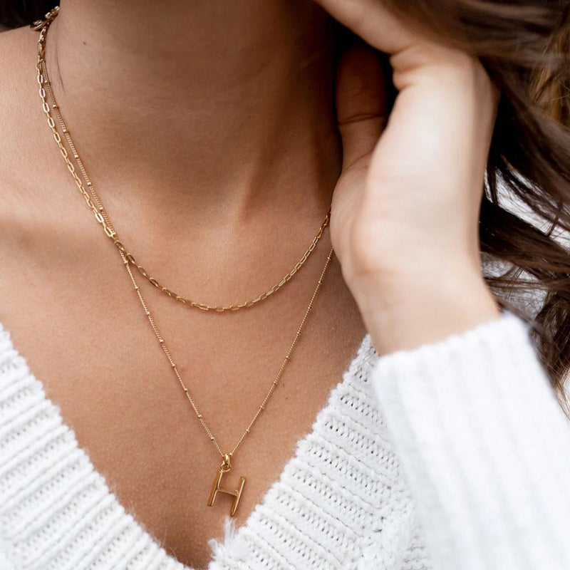 H Initial Necklace - Gold