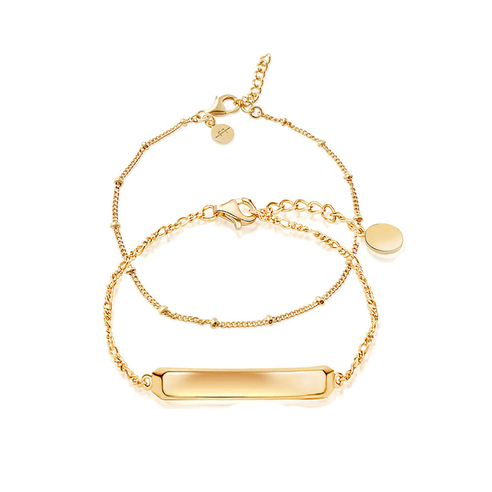 Gold ID Bracelet Stacking Set