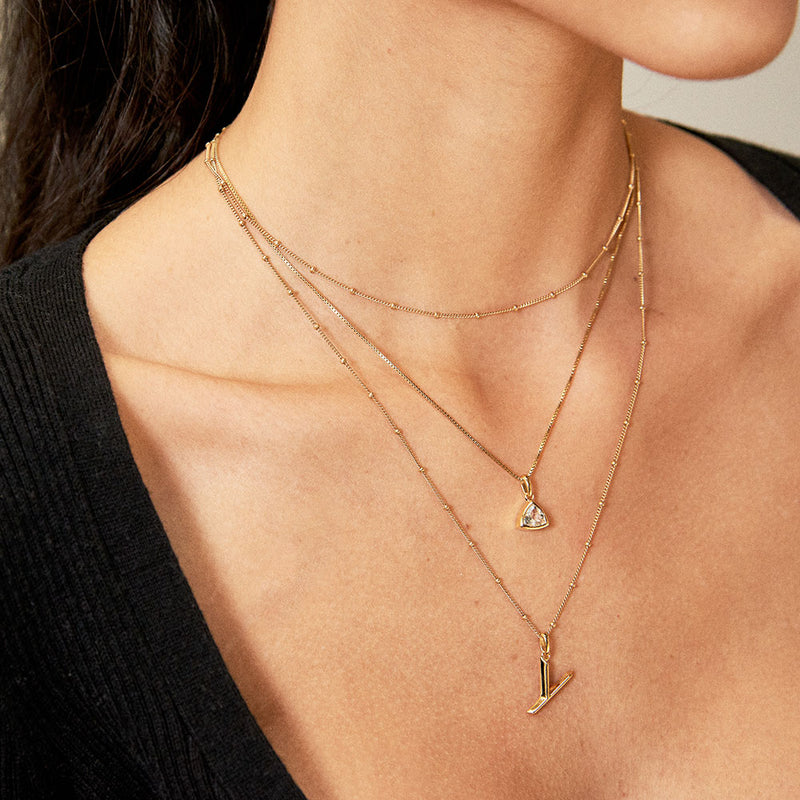 Y Initial Necklace - Gold - Edge of Ember Jewellery