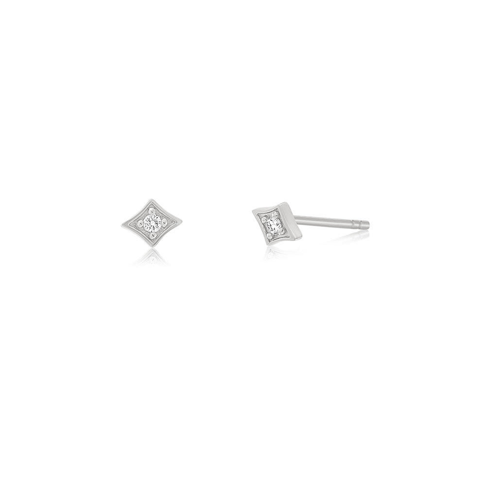 Kite Diamond Stud Earrings - White Gold
