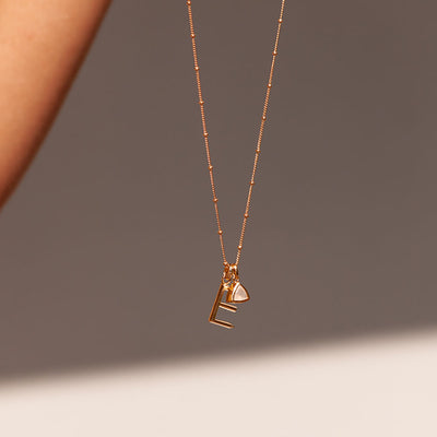 E Initial Necklace - Gold - Edge of Ember Jewellery