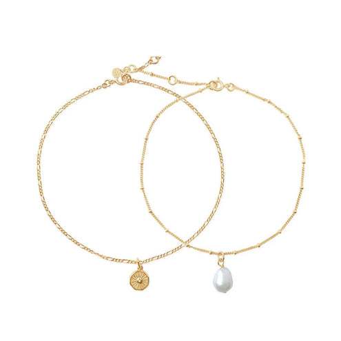 Lumina Pearl Anklet Set - Edge of Ember Jewellery