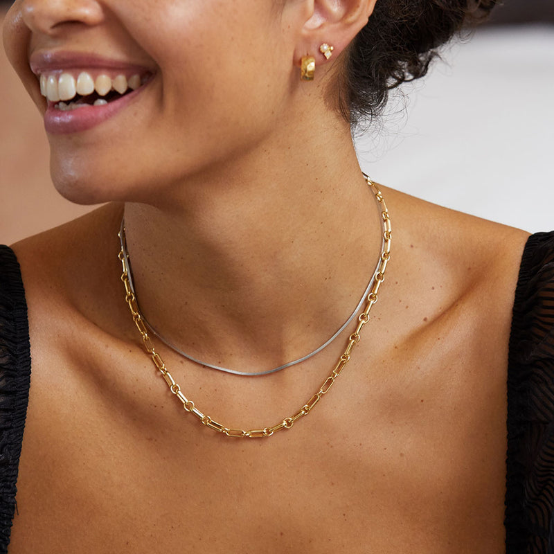Chain Mixed Metal Necklace Layering Set - Edge of Ember Jewellery