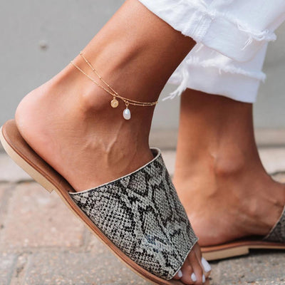 Gold Pearl Anklet Chain - Edge of Ember Jewellery