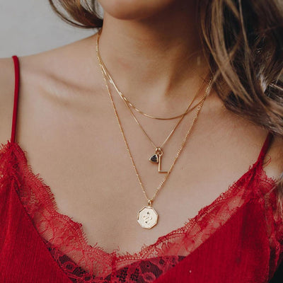 L Initial Necklace - Gold - Edge of Ember Jewellery