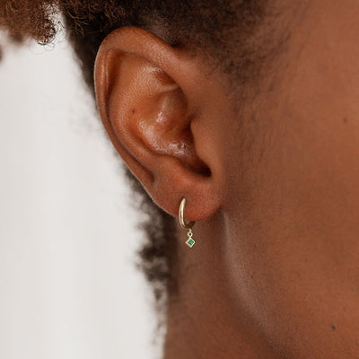 Emerald Gold Huggie Earrings - Edge of Ember Jewellery