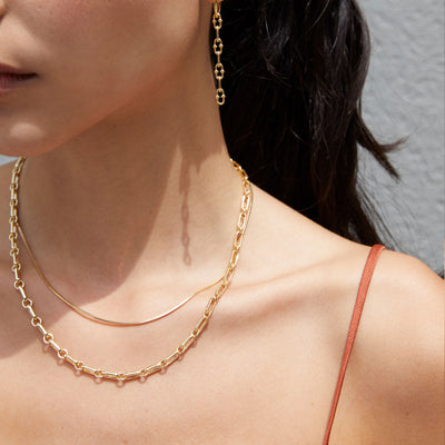 Gold Chain Necklace Layering Set
