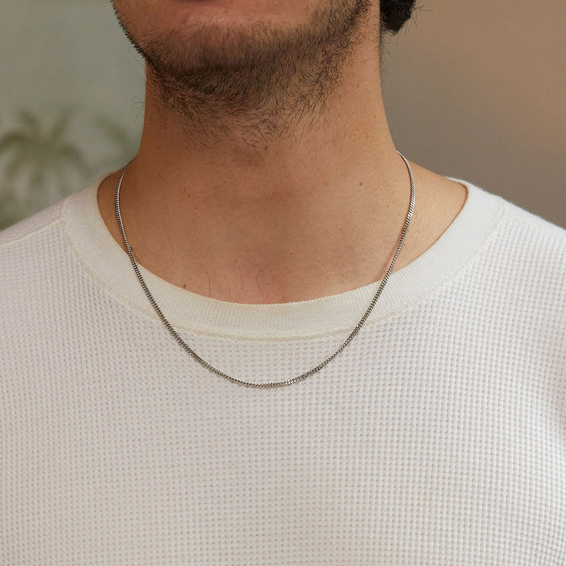 Men's Curb Chain Necklace - Silver - Edge of Ember Jewellery