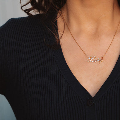 Nameplate Gold Necklace (Made to order) - Edge of Ember Jewellery