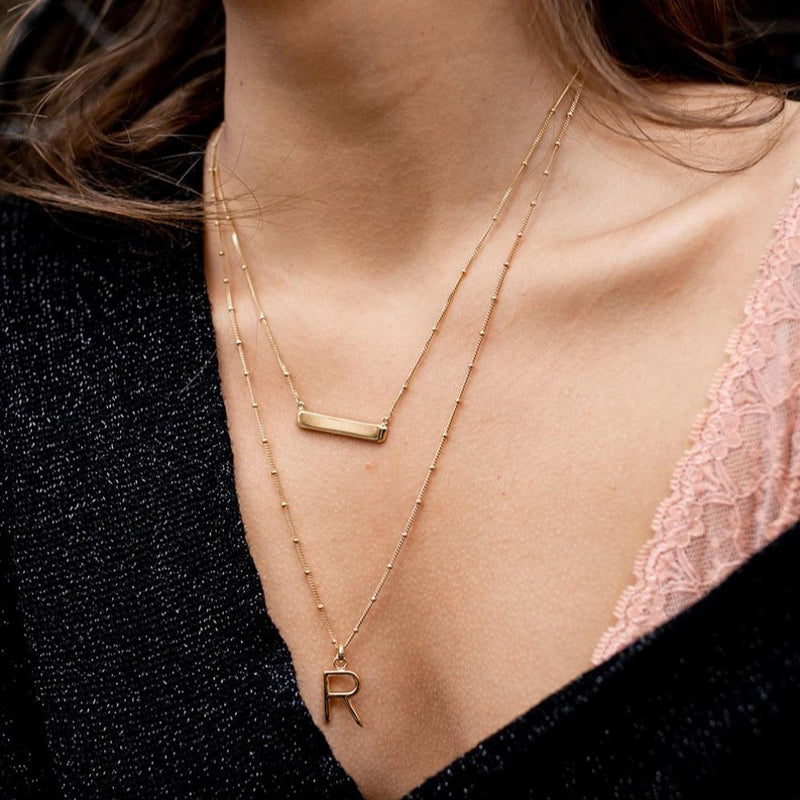R Initial Necklace - Gold