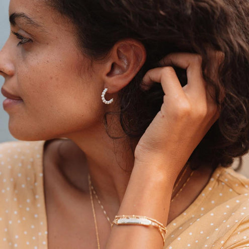Shore Pearl Hoop Earrings - Edge of Ember Jewellery