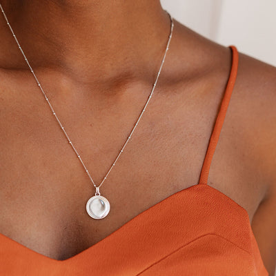 Initial Coin Necklace - Silver - Edge of Ember Jewellery