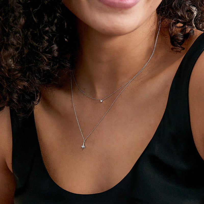 North Star Diamond Necklace - White Gold - Edge of Ember Jewellery