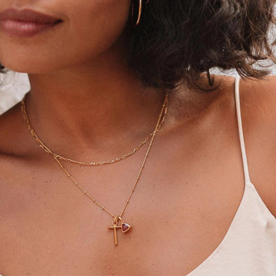 Ruby Charm Necklace - Gold - Edge of Ember Jewellery