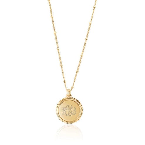 Monogram Gold Coin Necklace - Edge of Ember Jewellery