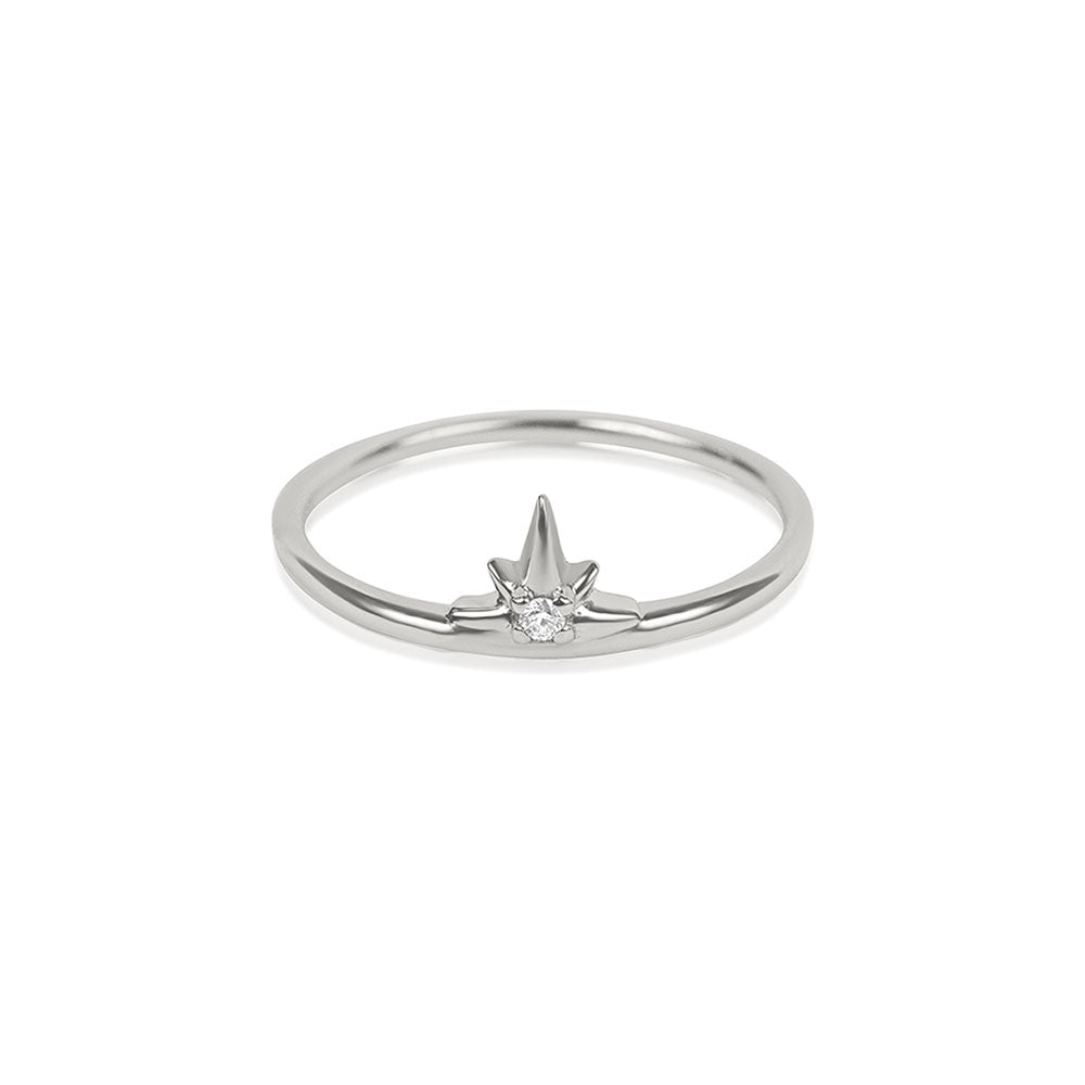 North Star Diamond Ring - White Gold - Edge of Ember Jewellery