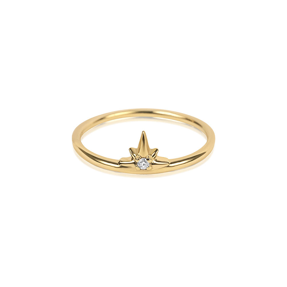 North Star Diamond Ring - Yellow Gold - Edge of Ember Jewellery