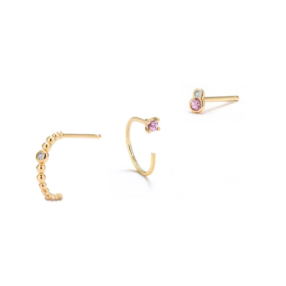 Pink Studs Stacking Set - Edge of Ember Jewellery
