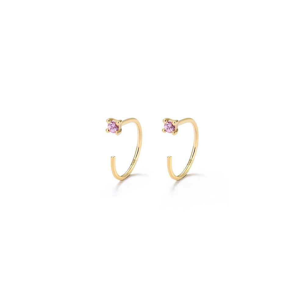 Pink Sapphire Hook Huggie Earrings